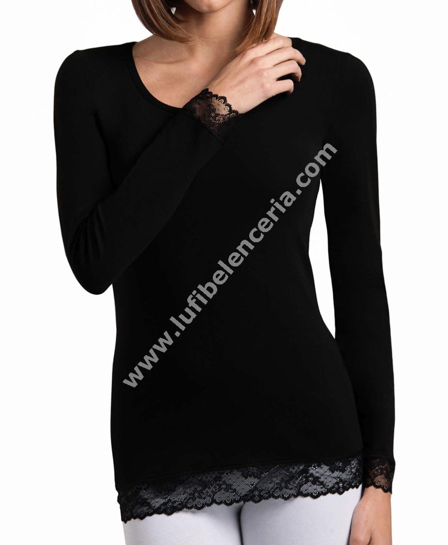 5d61046984 Camiseta mujer algodon manga larga y encaje Cotonella